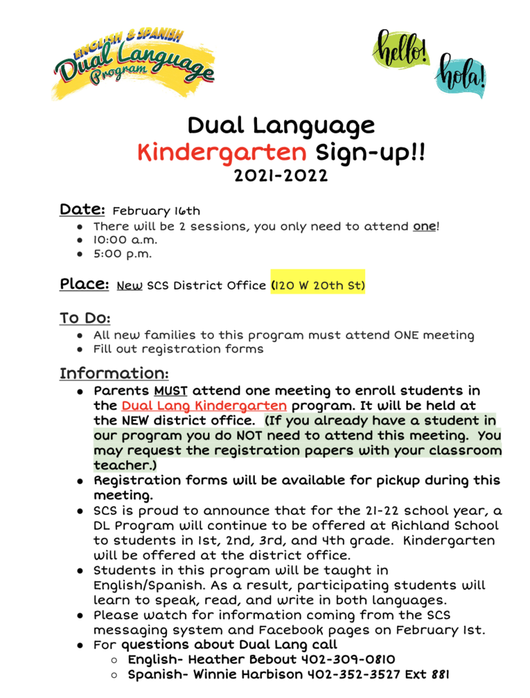 Registration for Kindergarten Dual Language